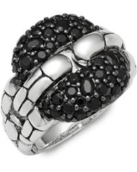 John Hardy - Black Sapphire & Sterling Silver Square Link Ring - Lyst