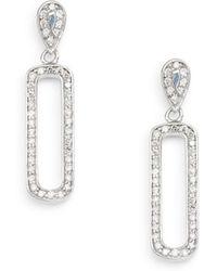 Effy - 0.39 Tcw Diamond & 14k White Gold Oval Drop Earrings - Lyst