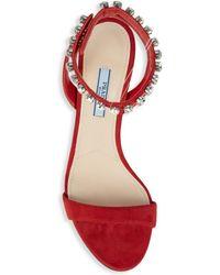 Prada Crystal-embellished Leather Sandals