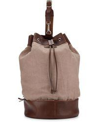 Brunello Cucinelli - Leather & Canvas Rucksack - Lyst