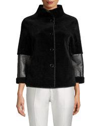 Adrienne Landau - Textured Lamb Shearling Jacket - Lyst