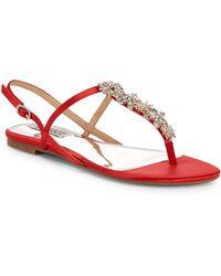 Badgley Mischka - Embellished Leather Thong Sandals - Lyst