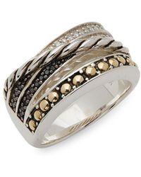 Effy - Diamond, Black Diamond, 18k Yellow Gold And Sterling Silver Ring, 0.17 Tcw - Lyst