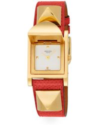 Hermès - Vintage Red & Gold Courchevel Medor Watch - Lyst