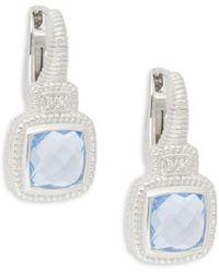 Judith Ripka - Natalie Sterling Silver Blue Crystal & White Topaz Square Drop Earrings - Lyst