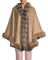 Belle Fare - Dyed Fox Fur-trimmed Cashmere & Wool Cape - Lyst