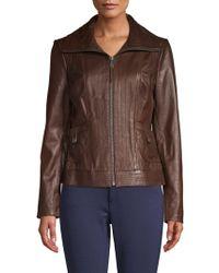 MICHAEL Michael Kors - Paneled Leather Jacket - Lyst