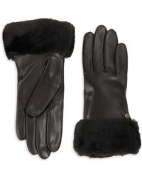 UGG - Leather And Dyed Shearling Gloves - Lyst