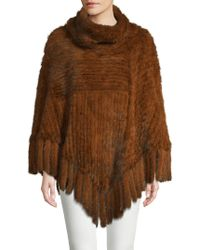 Belle Fare - Fringed Mink Fur Poncho - Lyst