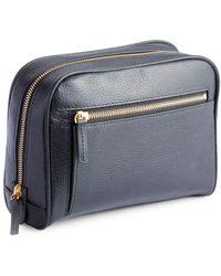 Royce - Pebbled Leather Zip Toiletry Bag - Lyst