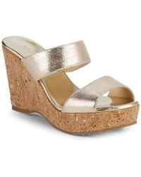 Jimmy Choo - Parker 100 Metallic Leather Cork Wedge Sandals - Lyst