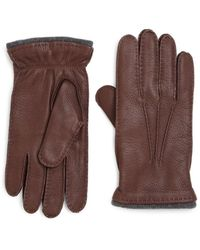 Saks Fifth Avenue - Deerskin Leather Gloves - Lyst