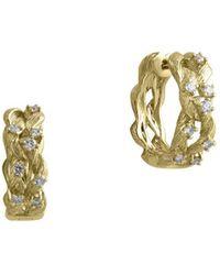 Effy - D Oro 14k Yellow Gold And Diamond Huggie Hoop Earrings, 0.41 Tcw - Lyst