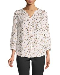NYDJ - Print High-low Pintucked Blouse - Lyst