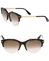 Tom Ford - Adrenne 55mm Mirrored Round Sunglasses - Lyst