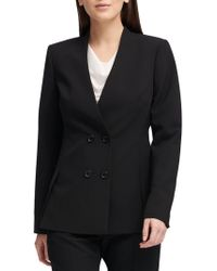 Donna Karan - Collarless Double-breasted Blazer - Lyst