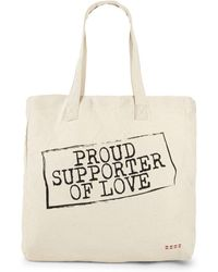 Peace Love World - Proud Supporter Of Love Tote - Lyst