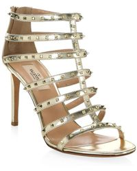 Valentino - Lovestud Metallic Leather Gladiator Sandals - Lyst