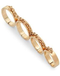 Valentino - Chain Linked Four Finger Ring - Lyst