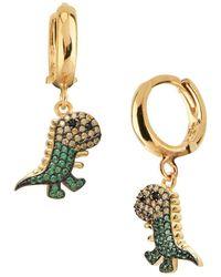 Gabi Rielle - Dinosaur Yellow & Green Crystal Drop Earrings - Lyst