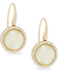 Roberto Coin - Lemon Quartz, Diamond And 18k Yellow Gold Round Drop Earrings - Lyst