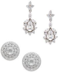 Adriana Orsini - White Stone Stud & Drop Earring Gift Box Set/silvertone - Lyst