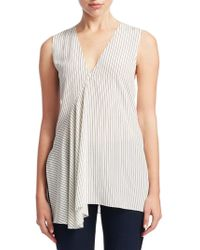 a57fd8f091 Theory - Koronee Sag Harbor Ribbed Linen-blend Top - White in White ...