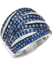 Effy - Blue Sapphire, Diamond And 14k White Gold Ring - Lyst