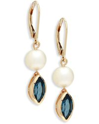 Saks Fifth Avenue - 8mm Champagne Freshwater Pearl, London Blue Topaz And 14k Gold Drop Earrings - Lyst
