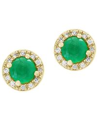 Effy - Brasilica Natural Emerald, Diamond And 14k Yellow Gold Stud Earrings - Lyst