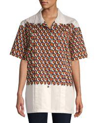 Dries Van Noten - Geometric Cotton Blouse - Lyst