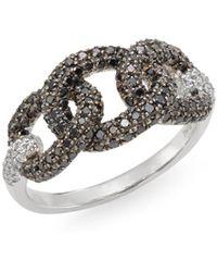 Effy - Black Diamond, White Diamond & 14k White Gold Chainlink Ring - Lyst