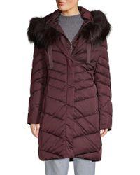 T Tahari Jolene Fox Fur Trim Longline Parka