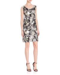 Laundry by Shelli Segal - Platinum Geometric Sequin Beaded Dress - Lyst