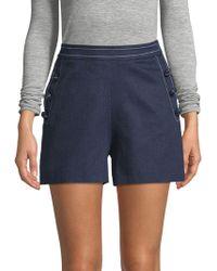 Carolina Herrera - Chambray High-rise Button Shorts - Lyst