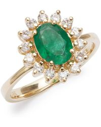 Effy - Diamond And Emerald, 14k Gold, 14k Yellow Gold Ring - Lyst