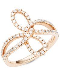 Nephora - Split Shank Diamond Bow Ring - Lyst