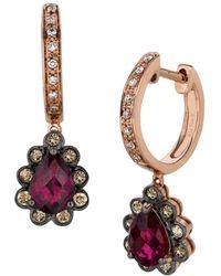 Le Vian - Chocolatier Fiery Reds Diamond, Rhodolite & 14k Rose Gold Huggies Earrings - Lyst