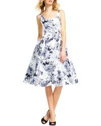 Adrianna Papell - Mikado Tea Length Floral Dress - Lyst