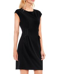 Vince Camuto - Cap Sleeve Side Lace-up Crepe Ponte Dress - Lyst