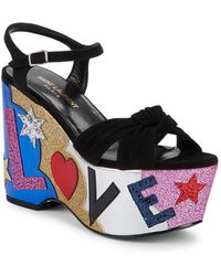 aa21ad2252c Saint Laurent - Candy Love Suede   Leather Graphic Platform Sandals - Lyst