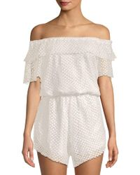 Haute Rogue - Lace Off-the-shoulder Romper - Lyst