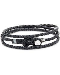 Miansai - Splice Silver And Leather Wrap Bracelet - Lyst