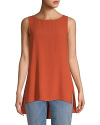 cc6e91825bf Lyst - Eileen Fisher Long Linen Tank in Orange