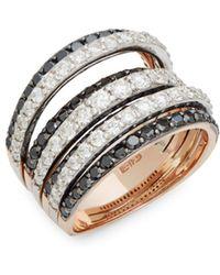 Effy - Diamond, Black Diamond And 14k Gold Midi Ring - Lyst