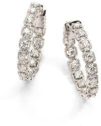 "Saks Fifth Avenue - 2 Tcw Ideal Cut Colorless Certified Diamond & 14k White Gold Hoop Earrings/1"" - Lyst"