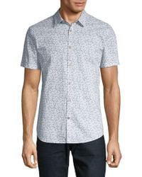 John Varvatos - Printed Cotton Button-down Shirt - Lyst