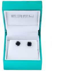 Effy - 14k White Gold, Diamonds And Sapphire Stud Earrings - Lyst
