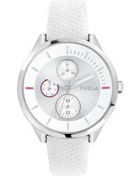 Furla - Metropolis White Dial Calfskin Leather Watch - Lyst