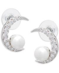 CZ by Kenneth Jay Lane - Cubic Zirconia & Shell Pearl Moon Earrings - Lyst